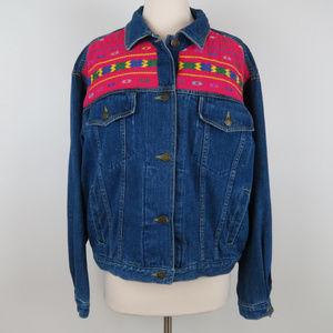Vintage Pink Tribal Embroidered Denim Jacket C5